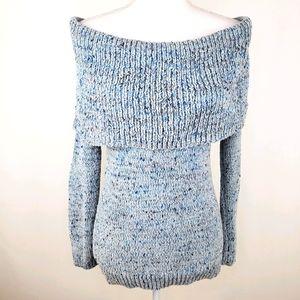 Lauren Conrad blue off the shoulder sweater